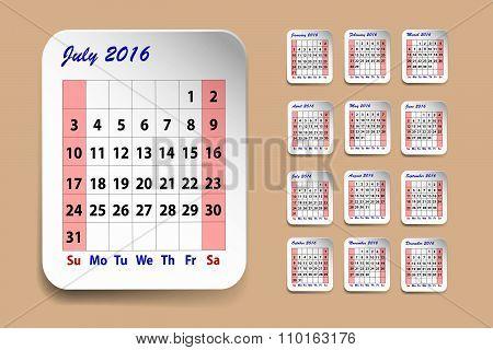Calendar For July 2016