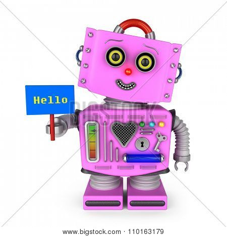 Pink vintage toy robot girl with head tilted to the side smiling and holding a hello sign over white background