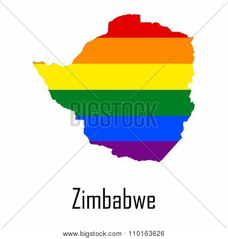 Vector Rainbow Map Of Zimbabwe In Colors Of Lgbt - Lesbian, Gay, Bisexual, And Transgender - Pride F