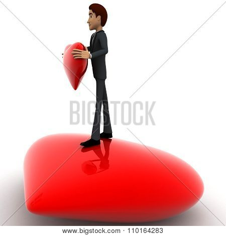 3D Man Standing On Heart And Holding Red Heart In Hans Concept