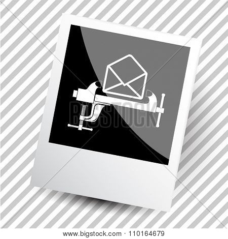 mail with clamp. Photoframe. Raster icon.
