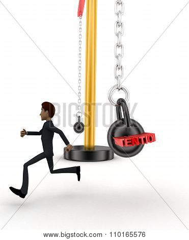 3D Man Running From Big And Heavy Weight Hammer On Which Work Load Is Written Concept