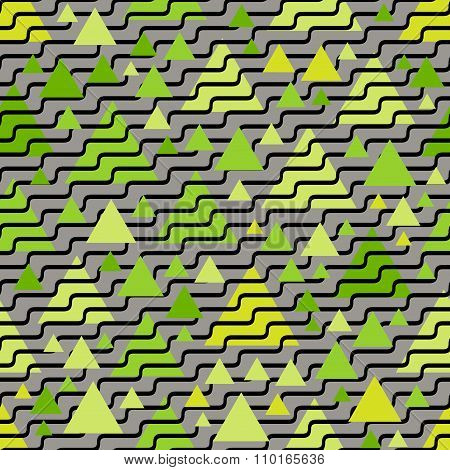 Vector Seamless Black Wavy Lines On Green Jumble Triangle Shape Pattern