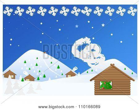 Landscape Winter Christmas Snowy Night. Vector illustration