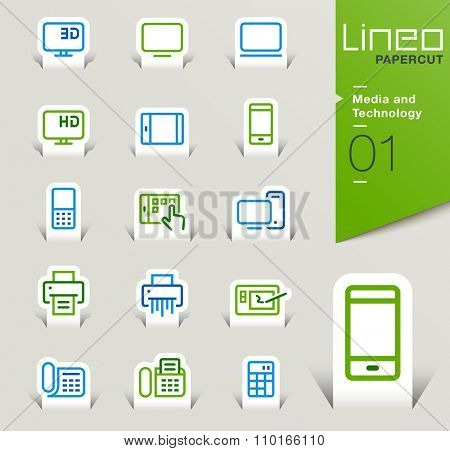 Lineo Papercut - Media and Technology outline icons