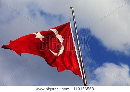 Turkish Flag On Flagpole