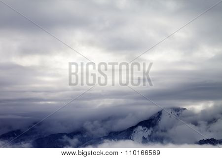 Winter Mountains Covered With Clouds