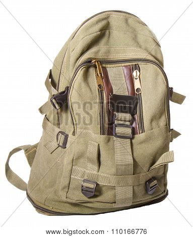 Backpack From Fabric Of Color Khaki