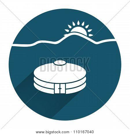 Yurta jurt icon with sun. Mongolian, kazakh house symbol. Asian household. Round sign with long shad