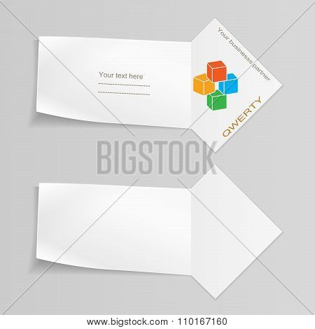 Paper banners with cube logo. Paper labels for your text.  Ribbon, arrow for note. Stationery. Vecto