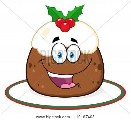 Christmas Pudding Character With Frosting And Holly