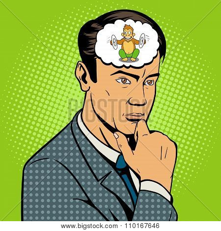 Man thinking hard pop art style vector