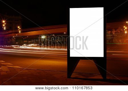 Electronic banner in night city