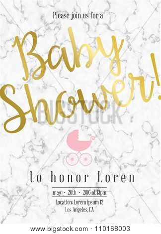 Baby shower invitation with marble and gold detail