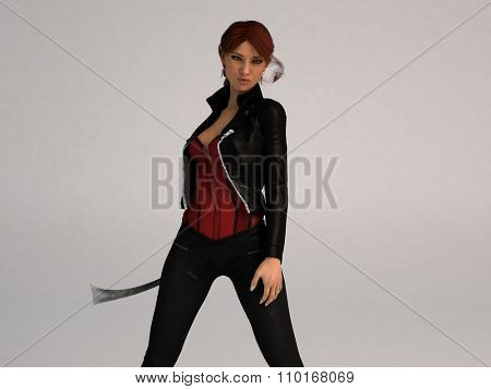 posing girl with sword isolated on white
