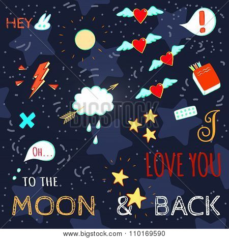 Doodle Stylish Lettering Illustration On Love Theme
