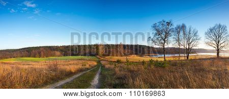 Panoramic Landscape Of Fields At Late Autumn Or Winter