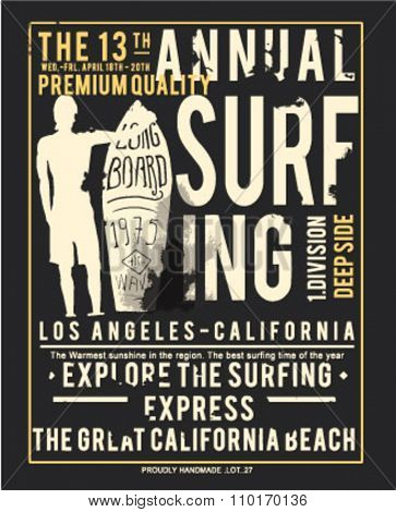 surfing, type for apparel