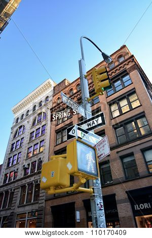 Spring streets and wooster street sign Soho Manhattan New York