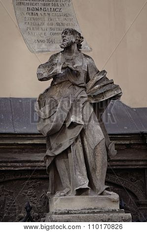 An ancient statue in Lviv, Ukraine