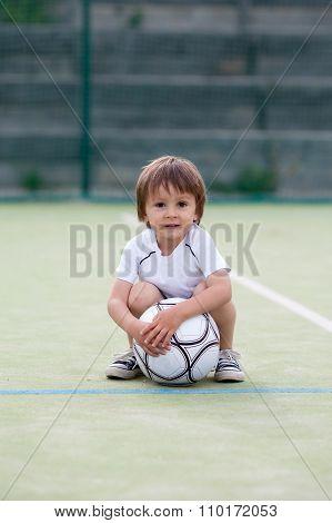 Cute Little Boy, Playing Football