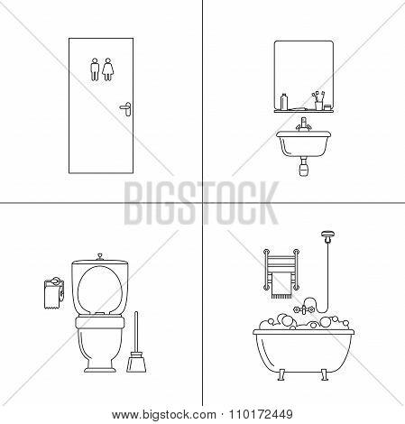 Line illustrations of bathtoom.