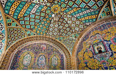 Colorful Tiled Ceiling Of The Historical Terrace In The Qajar Royal Dinasty Golestan Palace, Tehran