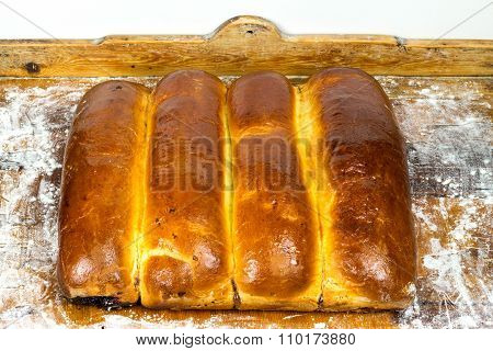 Hot, Fresh Baked Homemade Sweet Pies, Strudel On Wooden Background