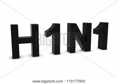 H1N1 Flu Black 3D Text Isolated On White With Shadows