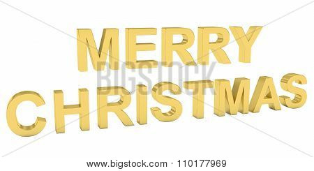 Merry Christmas Gold 3D Text Isolated On White