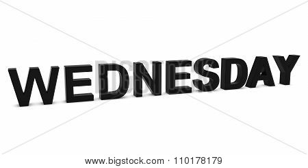 Wednesday Black 3D Text Isolated On White With Shadows
