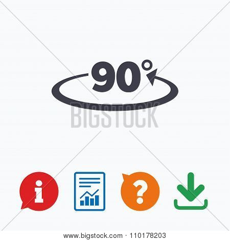Angle 90 degrees sign icon. Geometry math symbol