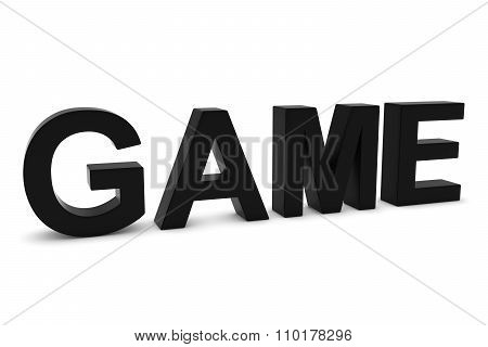 Game Black 3D Text Isolated On White With Shadows