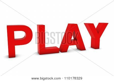 Play Red 3D Text Isolated On White With Shadows
