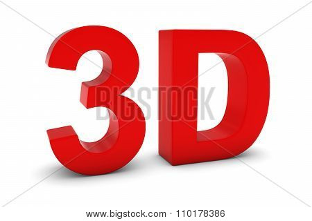 3D Red 3D Text Isolated On White With Shadows