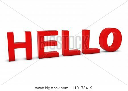 Hello Red 3D Text Isolated On White With Shadows