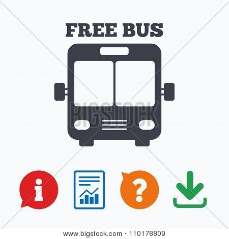 Bus free sign icon. Public transport symbol.