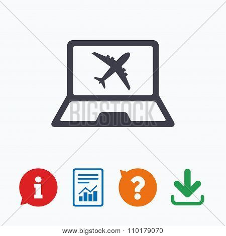 Online check-in sign. Airplane symbol. Travel.