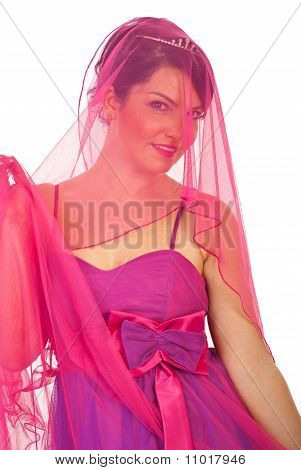Portrait Of Beauty  Bride In Pink