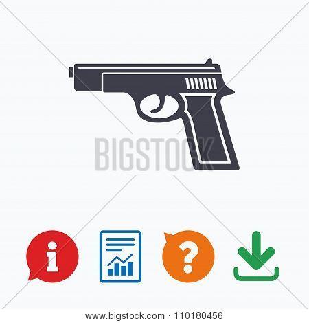 Gun sign icon. Firearms weapon symbol.