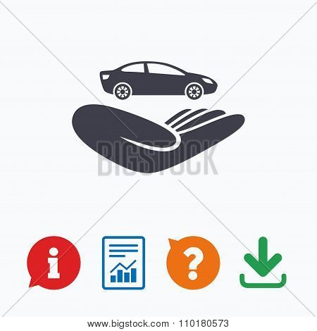 Car insurance sign. Hand holds transport.