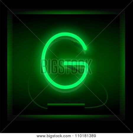 Realistic neon letter G vector illustration. Glowing font.
