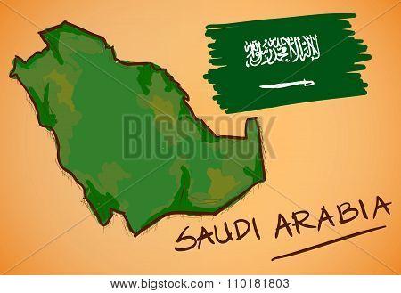 Saudi Arabia Map And National Flag Vector