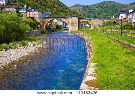 Villafranca del Bierzo by Way of Saint James Burbia river in Leon Spain