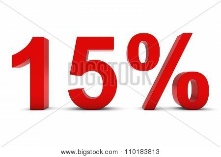 15% - Fifteen Percent Red 3D Text Isolated On White
