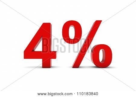 4% - Four Percent Red 3D Text Isolated On White