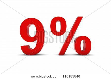9% - Nine Percent Red 3D Text Isolated On White