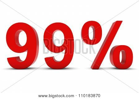 99% - Ninety Nine Percent Red 3D Text Isolated On White
