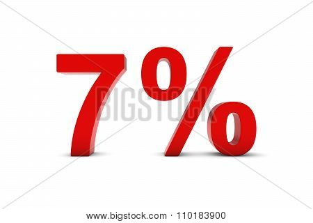 7% - Seven Percent Red 3D Text Isolated On White