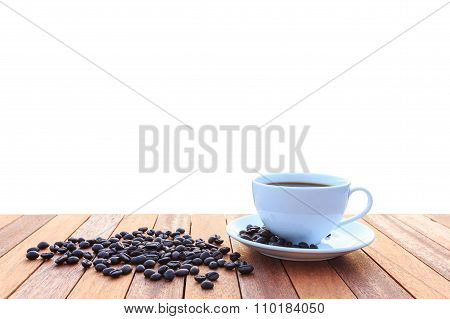 White Coffee Cup And Coffee Beans Isolated On White Background